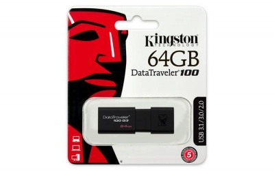 "Pendrive, 64GB, USB 3.0, KINGSTON ""DT100 G3"", fekete"